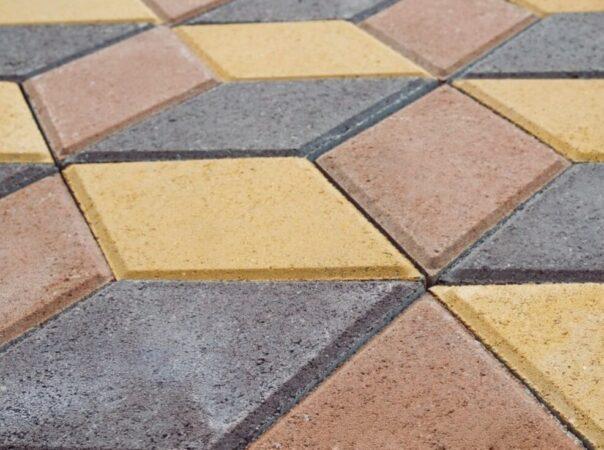 Тротуарная плитка «Ромб» (цвет — жёлтый, персик, чёрный)