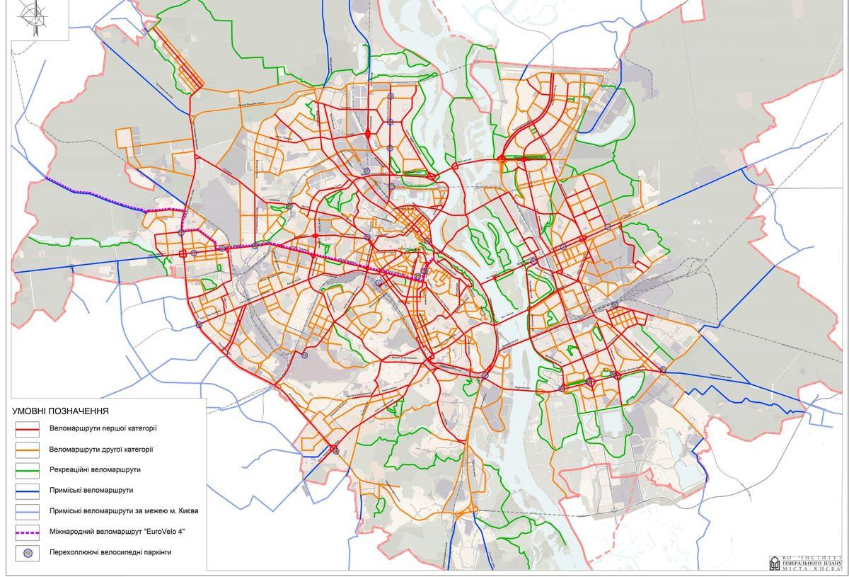Карта велодорожек Киева. Мапа велодоріжок Київа