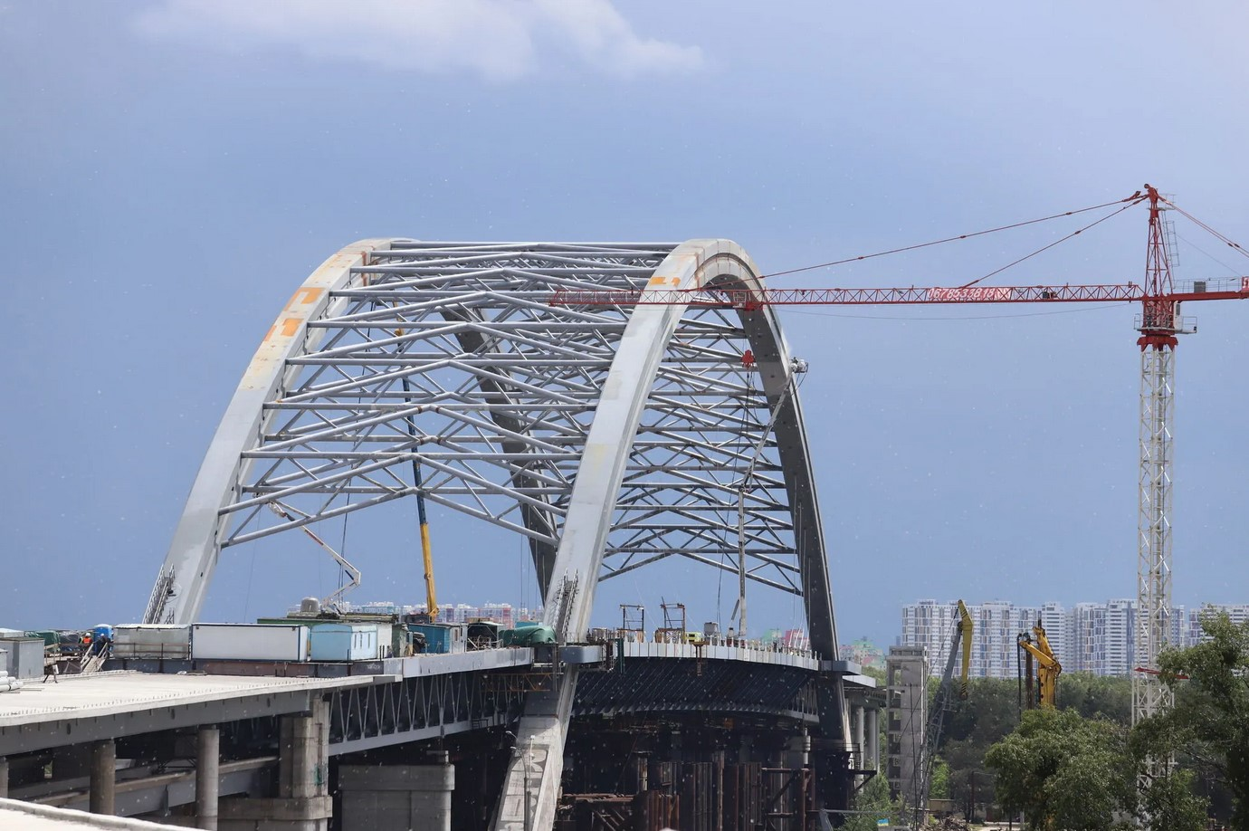 Строительство Подольского моста. Будівництво Подільського моста